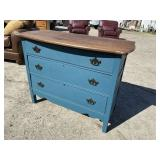 OAK 3 DRAWER CHEST PAINTED BLUE WITH FINISHED TOP