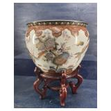 LARGE FISH BOWL PLANTER ON STAND