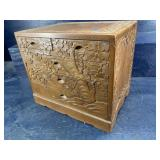 CARVED TEAK 5 DRAWER JEWELRY CHEST