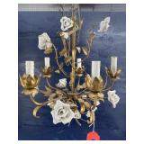 PORCELAIN AND TOWLE METAL CHANDELIER