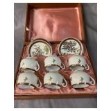 JAPANESE CUP AND SAUCER SET OF 6 in case
