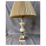 ANTIQUE MARBLE AND BRONZE LAMP