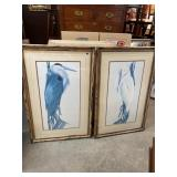 PAIR OF DOUBLE MATTED CRANE PRINTS