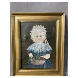 GIRL WITH BASKET PAINTING ON BOARD