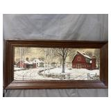 WINTER COUNTRY SCENE ON FABRIC