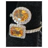 18K CUSTOM DIAMOND AND YELLOW SAPPHIRE RING