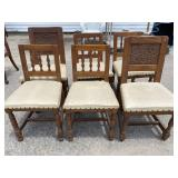 SET OF 6 OAK CARVED CHAIRS