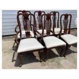 SET OF 6 SHELL CARVED CHERRY QUEEN ANNE CHAIRS