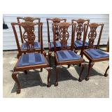 SET OF 6 SOLID MAHOGANY CHIPPENDALE CHAIRS