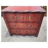 3 DRAWER PAINT DECORATED CONTEMPORARY CHEST