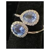 18K WHITE CUSTOM DIAMOND AND BLUE SAPPHIRE RING