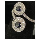 14K WHITE CUSTOM DIAMOND AND BLUE SAPPHIRE RING