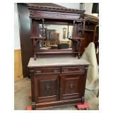 WALNUT MARBLE TOP BUFFET WITH MIRROR BACK