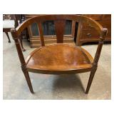 ROSEWOOD CARVED BARREL BACK CHAIR