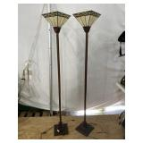 PAIR OF TIFFANY STYLE TORCHE FLOOR LAMPS