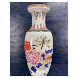 OLDER LARGE 34 INCH ORIENTAL VASE WITH BIRDS AND