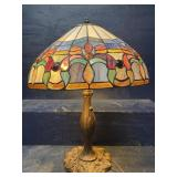 TIFFANY STYLE LEADED GLASS TALL LAMP