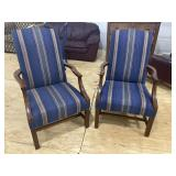 PR OF SOLID MAHOGANY CHIPPENDALE OPEN ARM CHAIRS
