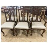 SET OF 6 CHERRY QUEEN ANNE DINING CHAIRS