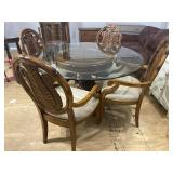 FEATHER CARVED ROUND GLASS TOP TABLE AND 4 CHAIRS
