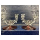 CRANBERRY AND CRYSTAL LARGE DOUBLE CANDLE STICKS