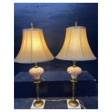 ANTIQUE BOHEMIAN AMBER CUT TO CLEAR TABLE LAMPS