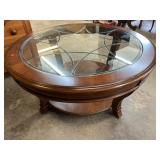 HOOKER CHERRY BEVELED GLASS 42 in COFFEE TABLE