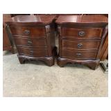 PR OF CHERRY BANDED TALL NIGHTSTANDS