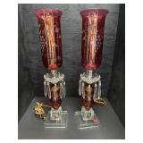PR OF CRANBERRY ETCHED PRISM LAMPS