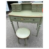 PAINT DECORATED DESK WITH STOOL