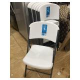 SET OF 8 LIFE TIME HEAVY PLASTIC FOLDING CHAIRS