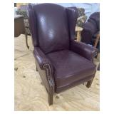 DISTRESSED LEATHER WINGBACK RECLINER