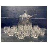 HEAVY FINE CRYSTAL PUNCH BOWL LEMONADE SET WITH