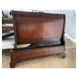 QUEEN SIZE CHERRY INLAID SLEIGH BED