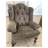 OVER SIZED CHPPENDALE TUFTED WING BACK CHAIR