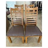 SET OF 4 CHERRY LEATHER BOTTOM CHAIRS
