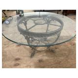 IRON AND ROUND GLASS TABLE
