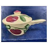 RARE WATT APPLE POTTERY COVERED BOWL WITH HANDLE