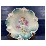 ANTIQUE SIGNED RS PRUSSIA ROSES LARGE BOWL