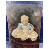 ANTIQUE COLORED TIN TYPE LARGE PHOTO