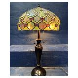 TALL TIFFANY STYLE 2 BULB LEADED GLASS TABLE LAMP