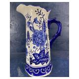 MODERN LARGE BLUE AND WHITE PITCHER JUG