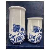 MATCHING BLUE AND WHITE VASES WITH BIRD AND