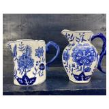 2 BLUE AND WHITE PORCELAIN PITCHER WALL POCKETS