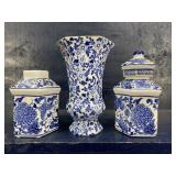 3 BLUE AND WHITE PORCELAIN PIECES