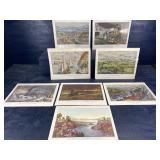 CURRIER AND IVES TRAIN LITHOGRAPHS 8 PICTURES