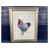 SIGNED AND FRAMED CHICKEN WATERCOLOR DORA PASOUR