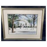 SIGNED AND NUMBERED SNOWY CHURCH PRINT