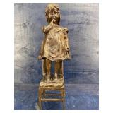 VINTAGE TALL BRONZE GIRL STANDING IN CHAIR
