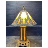 ANTIQUE STAINED GLASS TABLE LAMP WORKING